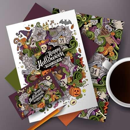 identity card: Cartoon cute colorful vector hand drawn doodles Halloween corporate identity set. Templates design of business card, flyers, posters, papers on the table.
