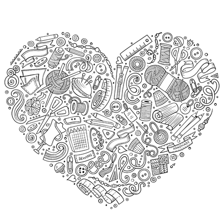 knitting: Sketchy vector hand drawn set of Handmade cartoon doodle objects, symbols and items. Heart form composition
