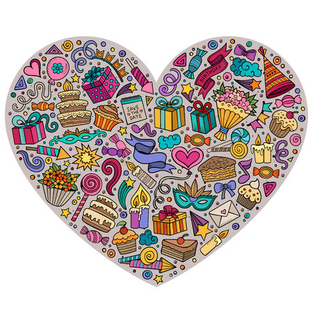 Colorful vector hand drawn set of Holidays cartoon doodle objects, symbols and items. Heart form composition