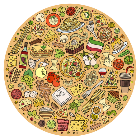 italian food: Colorful vector hand drawn set of Italian food cartoon doodle objects, symbols and items. Round composition Illustration