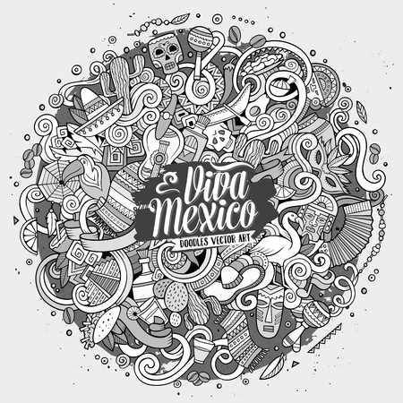 line art: Cartoon hand-drawn doodles Latin American illustration. Line art detailed, with lots of objects vector background
