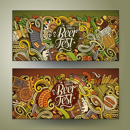 Cartoon schattige kleurrijke vector hand getekende krabbels Oktoberfest corporate identity. 2 horizontale bannersontwerp. Sjablonen instellen