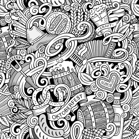 barrel tile: Cartoon cute doodles hand drawn Octoberfest seamless pattern. Line art detailed, with lots of objects background. Endless funny vector illustration. Contour backdrop with beer symbols and items