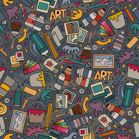 art supplies: Cartoon cute hand drawn Art seamless pattern. Colorful detailed, with lots of objects background. Endless funny vector illustration. Bright colors artist backdrop. Illustration