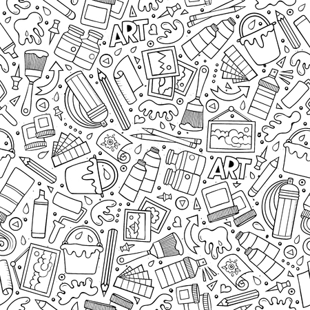 Cartoon cute hand drawn Art seamless pattern. Line art detailed, with lots of objects background. Endless funny vector illustration. Sketchy artist backdrop.  イラスト・ベクター素材