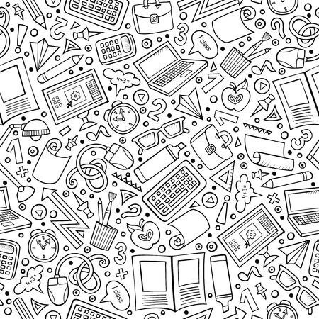 schattige Cartoon hand getekende Science naadloos patroon. Line art gedetailleerd, met veel objecten achtergrond. Endless grappig vector illustratie. Schetsmatig wetenschappelijke achtergrond.