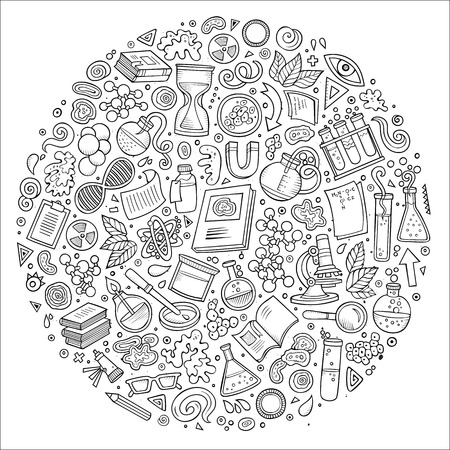 Line art vector hand drawn set of Science cartoon doodle objects, symbols and items. Round composition Vettoriali