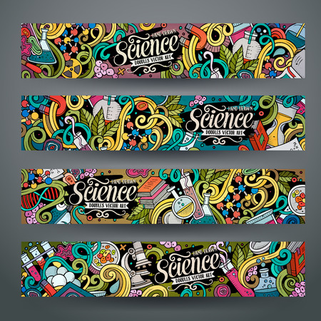 Cartoon colorful vector hand drawn doodles science corporate identity. 4 Horizontal banners design. Templates set Ilustração