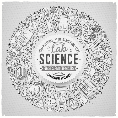 science symbols: Line art vector hand drawn set of Science cartoon doodle objects, symbols and items. Round frame composition Illustration
