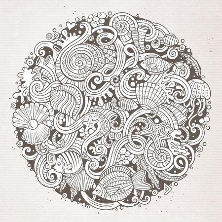 水中生活の図をテーマに手描き落書きを漫画します。詳細は、オブジェクトのベクトルの背景の多くのライン アート