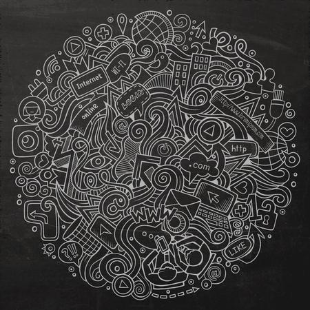 Cartoon griffonnages mignon dessiné à la main illustration des médias sociaux. Line art détaillé, avec beaucoup d'objets de fond. illustrations vectorielles drôle. photo Chalkboard avec des articles à thème internet. Composition Square.