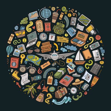 Colorful vector hand drawn set of Travel cartoon doodle objects, symbols and items. Round composition