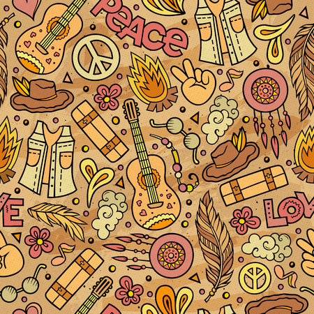 vintage patterns: Cartoon cute hand drawn Hippie seamless pattern. Colorful detailed, with lots of objects background. Endless funny vector illustration