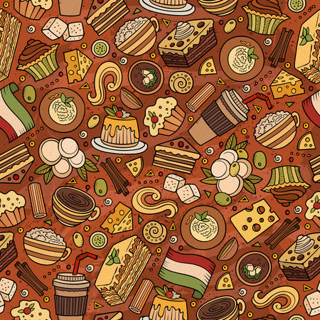 panna cotta: Cartoon cute hand drawn Italian food seamless pattern. Colorful with lots of objects background. Endless funny vector illustration.