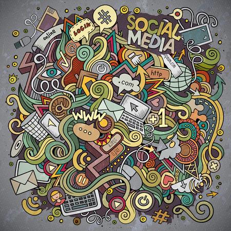 만화 귀여운 낙서 손으로 그려진 된 소셜 미디어 그림. 다채로운, 많은 개체 배경으로 상세한. 재미 있은 벡터 아트웍. 밝은 색 인터넷 테마 항목과 그