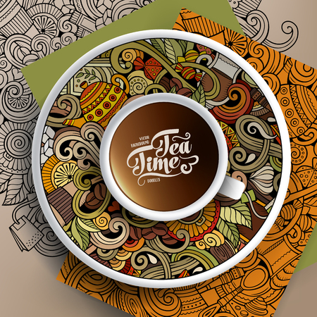 bezel: Vector illustration with a Cup of coffee and hand drawn Tea time doodles on a saucer, on paper and on the background