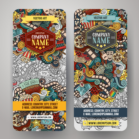 cinematograph: Cartoon colorful vector hand drawn doodles cinema corporate identity. 2 vertical banners design. Templates set