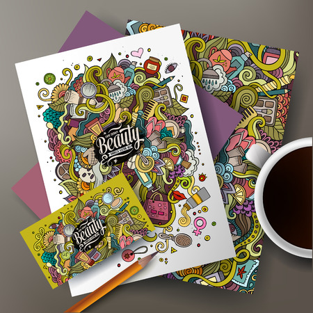 Cartoon mignon vecteur coloré dessiné à la main griffonnages cosmétique set d'identité d'entreprise. Modèles de conception de carte de visite, flyers, affiches, documents sur la table.