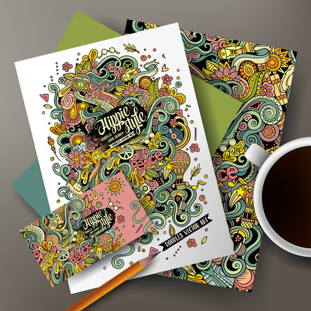 poster art: Cartoon cute colorful vector hand drawn doodles Hippie corporate identity set. Templates design of business card, flyers, posters, papers on the table.