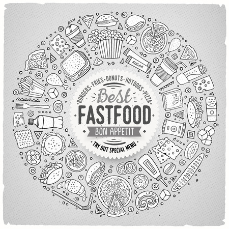 drink food: Line art vector hand drawn set of Fast food cartoon doodle objects, symbols and items. Round frame composition