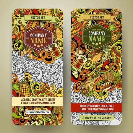 漫画カラフルなベクトル手描き落書きメキシコ料理コーポレート ・ アイデンティティ。2 垂直バナーを設計します。テンプレート セット  イラスト・ベクター素材
