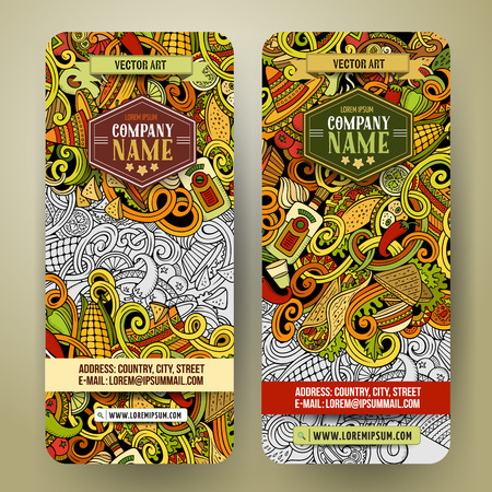 Cartoon colorful vector hand drawn doodles mexican cuisine corporate identity. 2 vertical banners design. Templates set