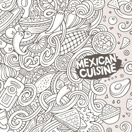 american food: Cartoon cute doodles hand drawn Mexican food frame design. Line art detailed, with lots of objects background. Funny vector illustration. Sketchy border with latin american cusine theme items Illustration