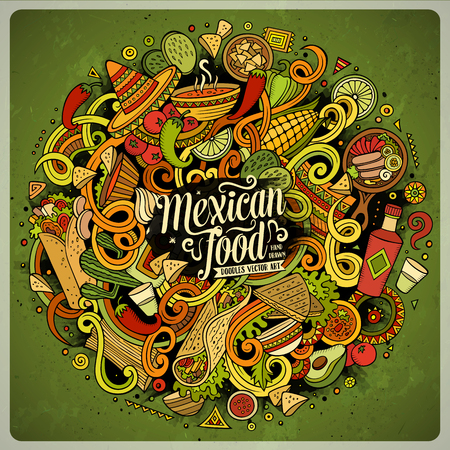 latinoamerica: Cartoon cute doodles hand drawn Mexican food illustration. Colorful detailed, with lots of objects background. Funny vector artwork. Bright colors picture with Mexico cuisine theme items