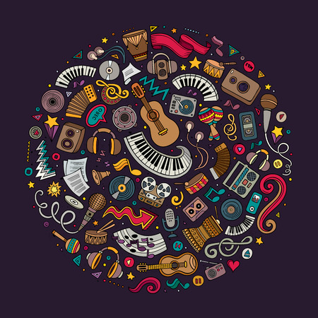 simbolos musicales: Colorful vector hand drawn set of Musical cartoon doodle objects, symbols and items. Round composition