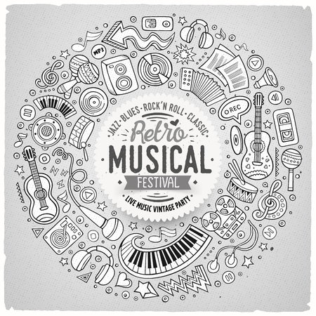 composition art: Line art vector hand drawn set of Musical cartoon doodle objects, symbols and items. Round frame composition