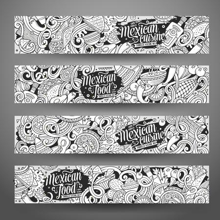 Cartoon line art vector hand drawn doodles mexican cuisine corporate identity. 4 horizontal banners design. Templates set