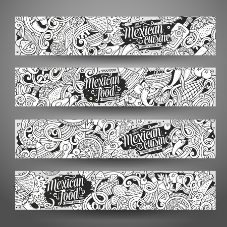 hot pepper: Cartoon line art vector hand drawn doodles mexican cuisine corporate identity. 4 horizontal banners design. Templates set