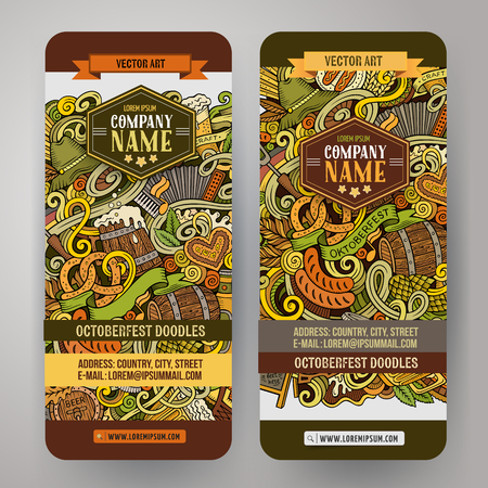 theme: Cartoon cute colorful vector hand drawn doodles Octoberfest corporate identity. 2 vertical banners design. Templates set