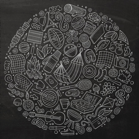 meat icon: Chalkboard vector hand drawn set of Picnic cartoon doodle objects, symbols and items. Round composition