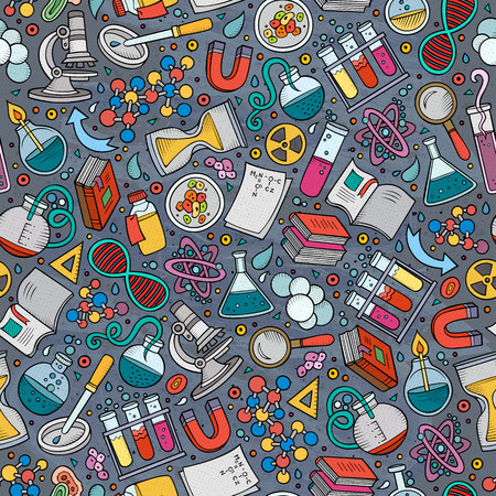 Cartoon cute hand drawn Science seamless pattern. Colorful detailed, with lots of objects background. Endless funny vector illustration. Bright colors scientific backdrop.