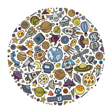 カラフルなベクトルの手 Spacel 漫画落書きオブジェクト、シンボルと項目の描画セット。ラウンド構成
