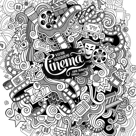 cinematograph: Cartoon cute doodles hand drawn cinema frame design. Line art detailed, with lots of objects background. Funny vector illustration. Sketchy border with movie theme items