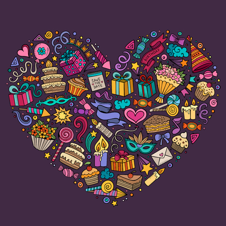 sticker design: Colorful vector hand drawn set of Holidays cartoon doodle objects, symbols and items. Heart form composition