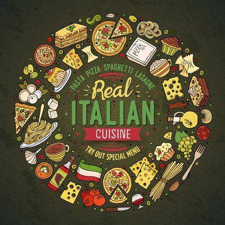 lasagna: Colorful vector hand drawn set of Italian food cartoon doodle objects, symbols and items. Round frame composition