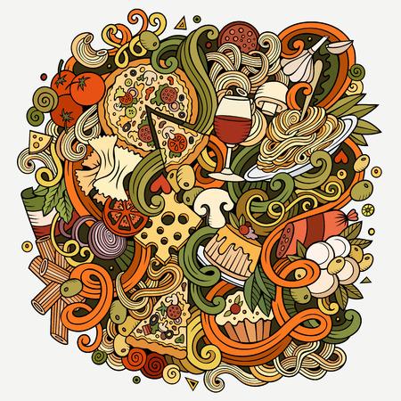 comida italiana: garabatos lindo de dibujos animados dibujados a mano ejemplo de la comida italiana. Colorido detallado, con una gran cantidad de objetos de fondo. obra divertida del vector. imagen brillante con Italia artículos de cocina temáticos. composición de la plaza Vectores