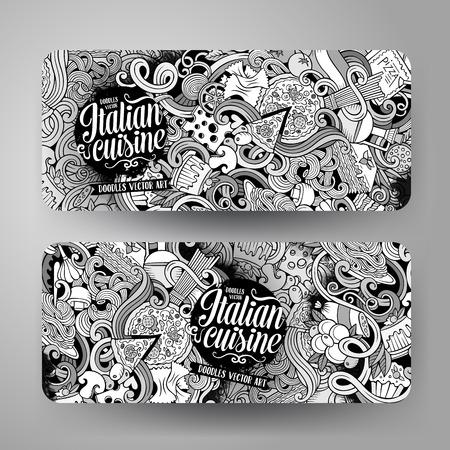 lasagna: Cartoon cute sketchy vector hand drawn doodles italian food corporate identity. 2 horizontal line art banners design. Templates set