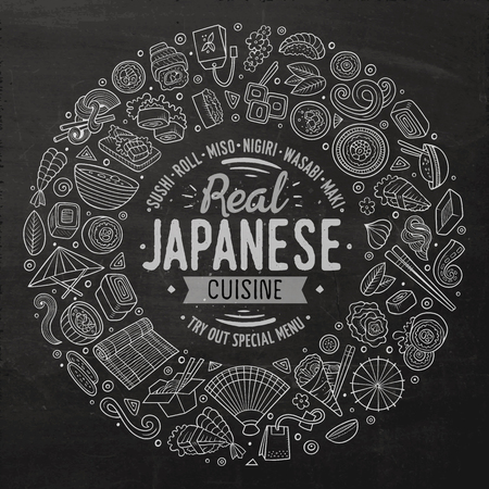 Chalkboard vector hand drawn set of Japanese food cartoon doodle objects, symbols and items. Round frame composition