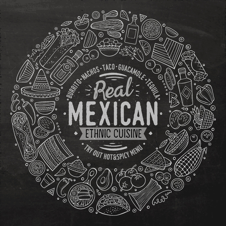 country kitchen: Chalkboard vector hand drawn set of Mexican food cartoon doodle objects, symbols and items. Round frame composition