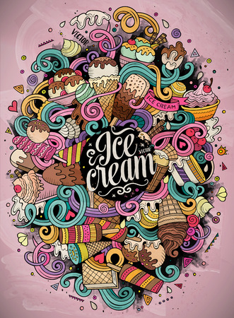 Cartoon hand-drawn doodles Ice Cream illustration. Line art colorful detailed, with lots of objects vector design background Stok Fotoğraf - 62711922