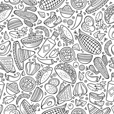 spicy food: Cartoon cute hand drawn Mexican food seamless pattern. Line art detailed, with lots of objects background. Endless funny vector illustration.