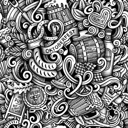 accordion: Cartoon hand-drawn doodles Octoberfest seamless pattern. Line art trace detailed, with lots of objects vector background Illustration
