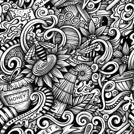Cartoon hand-drawn doodles Honey seamless pattern. Line art trace detailed, with lots of objects vector background Vector Illustration