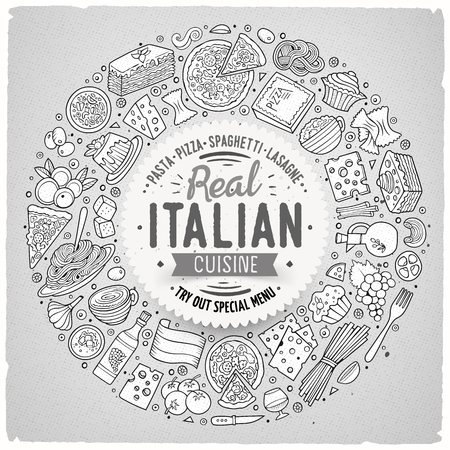 hand drawn frame: Line art vector hand drawn set of Italian food cartoon doodle objects, symbols and items. Round frame composition