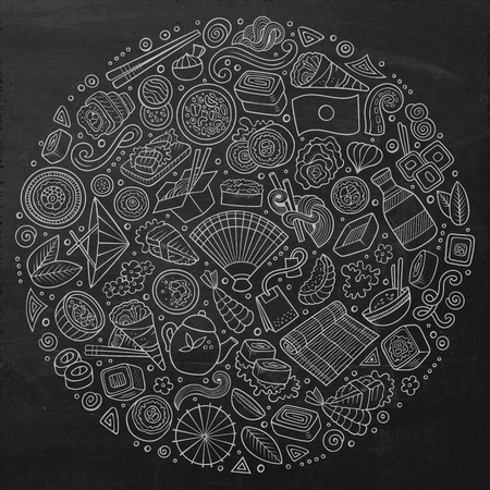 Chalkboard vector hand drawn set of Japan food cartoon doodle objects, symbols and items. Round composition