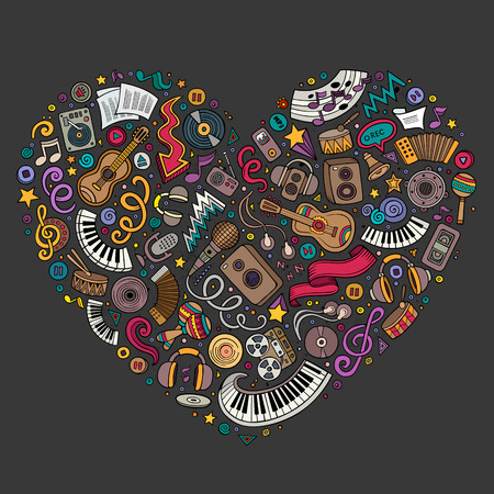 Colorful vector hand drawn set of Music cartoon doodle objects, symbols and items. Heart form composition